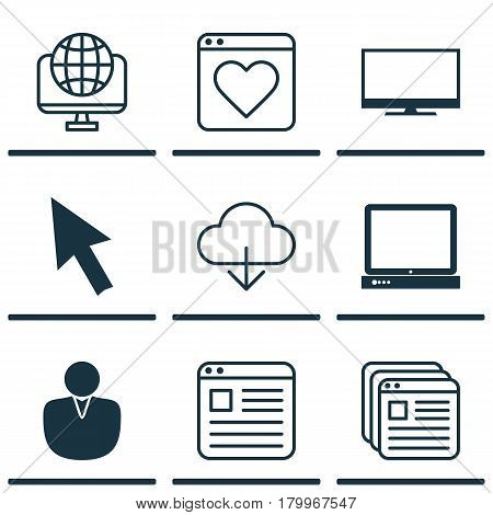 Set Of 9 World Wide Web Icons. Includes Website Bookmarks, Mouse, Save Data And Other Symbols. Beautiful Design Elements.