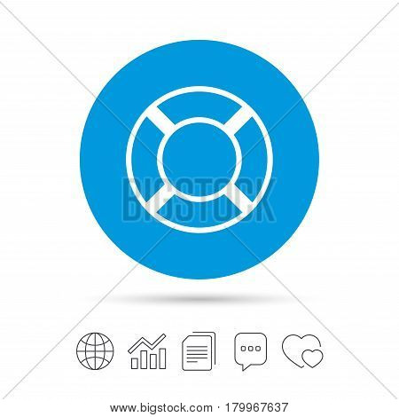 Lifebuoy sign icon. Life salvation symbol. Copy files, chat speech bubble and chart web icons. Vector