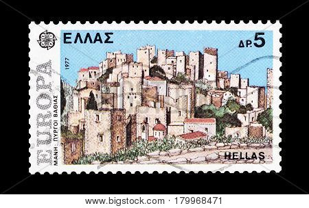 GREECE- CIRCA 1977 : Cancelled postage stamp printed by Switzerland, that shows Mani in Peloponissos.