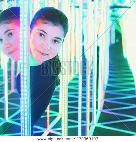Girl In Mirror Maze Try To Find Way Out