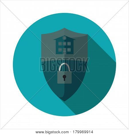 Vector image of a shield with a picture of a castle and a house