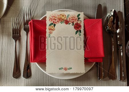 Top View Of Menu Floral Card With Empty Space For Text On Stylish Plates Luxury Expensive Catering A