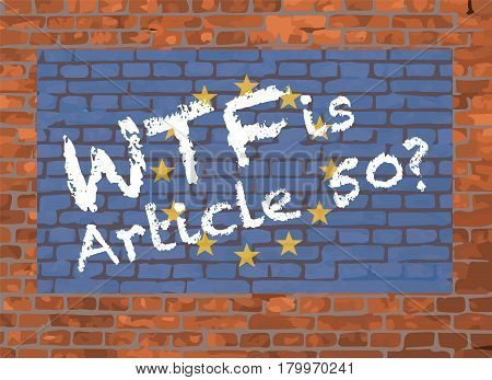 European Union Flag and WTF Graffiti On A Brick Background