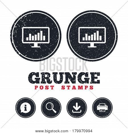Grunge post stamps. Computer monitor sign icon. Market monitoring. Information, download and printer signs. Aged texture web buttons. Vector