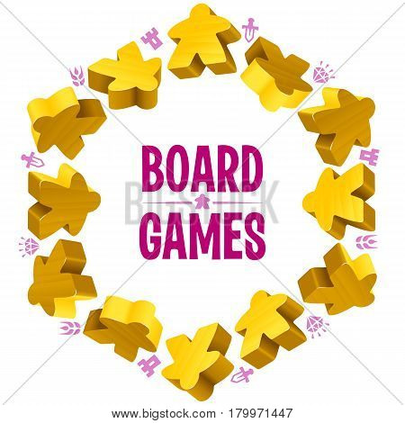Hex frame of yellow meeples for board games. Game pieces and resources counter icons isolated on white background. Vector border for design boardgames advertisement or template of geek t-shirt print
