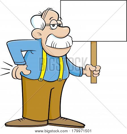 Cartoon illustration of an old man holding a sign.