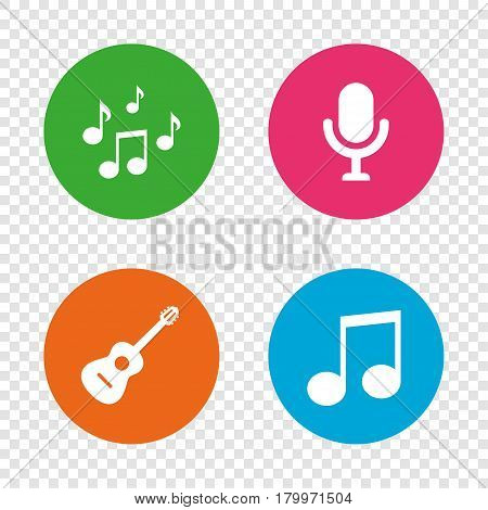 Music icons. Microphone karaoke symbol. Music notes and acoustic guitar signs. Round buttons on transparent background. Vector