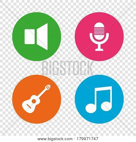 Musical elements icons. Microphone and Sound speaker symbols. Music note and acoustic guitar signs. Round buttons on transparent background. Vector