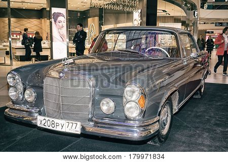 Moscow Russia - April 02 2017: Mercedes-Benz W111 280SE Coupe Germany 1970. Retro car exibition in shopping mall Metropolis.