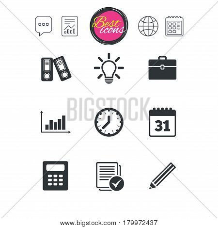 Chat speech bubble, report and calendar signs. Office, documents and business icons. Accounting, calculator and case signs. Ideas, calendar and statistics symbols. Classic simple flat web icons