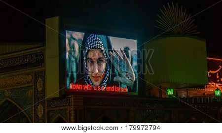 TEHERAN, IRAN -NOVEMBER 04, 2016: Iranian Propaganda aggainst USA in Teheran, shwon on display panel by Imamzadeh Saleh mosque