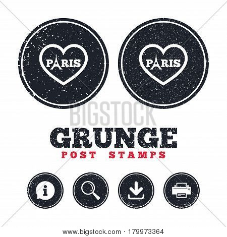 Grunge post stamps. Eiffel tower icon. Paris symbol. Heart sign. Information, download and printer signs. Aged texture web buttons. Vector