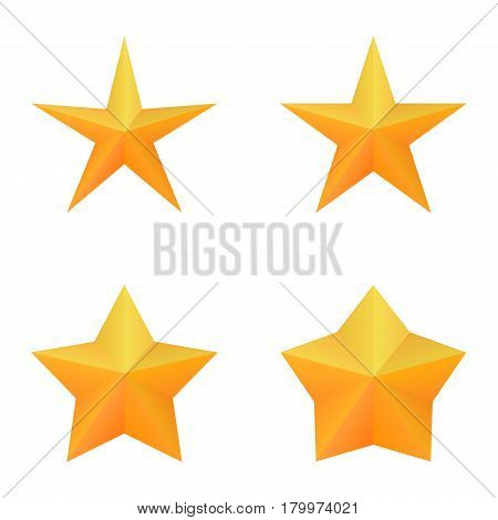 Set of four golden five point stars. Vector, eps 10.