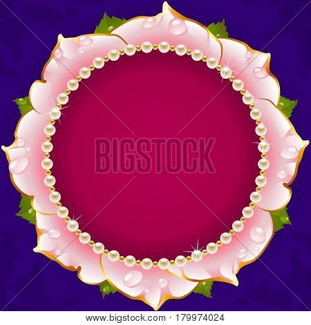 Pink Floral Circle Frame. Flower of Rose and Pearl Border Isolated on Background. Round Valentines Day Card, Wedding Invitation or Romantic Lovely Design. Vector Illustration