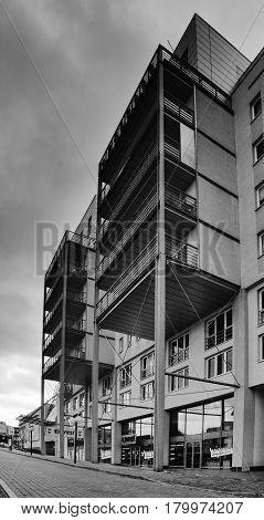 Most, Czech Republic - March 18, 2017: New Hight Building On 1. Namesti Square In Rainy Spring Morni