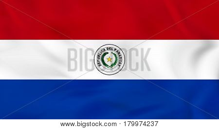 Paraguay Waving Flag. Paraguay National Flag Background Texture.
