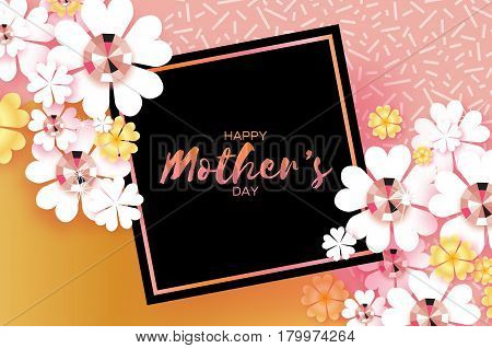 International Happy Mothers Day. White Floral Greeting card with Brilliant stones. Women's Day with Paper cut flower. Floral holiday. Beautiful bouquet. Square black frame. Pink. Vector illustration.