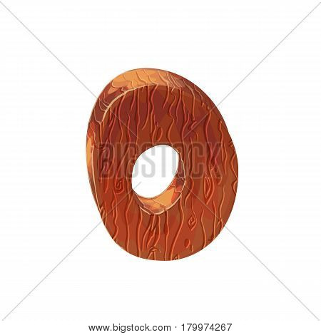 Wooden textured cartoon bold font number 0. Number on white background.