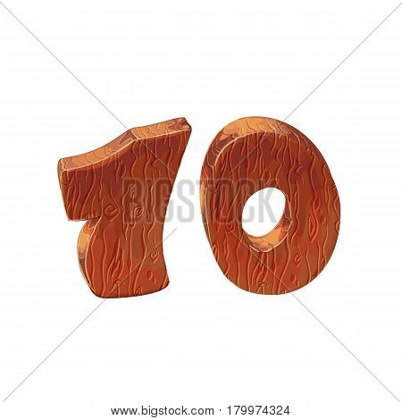 Wooden textured cartoon bold font number 10. Number on white background.