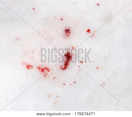 red blood on the snow . Abstract background