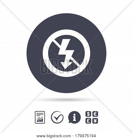 No Photo flash sign icon. Lightning symbol. Report document, information and check tick icons. Currency exchange. Vector