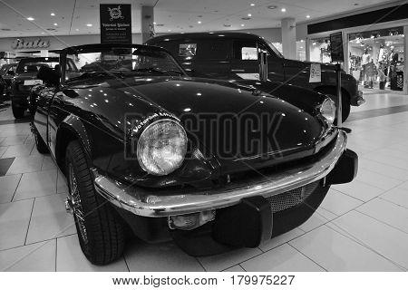 Most, Czech Republic - March 18, 2017: Triumph Spitfire Of 1977 In Department Store