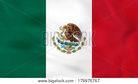 Mexico Waving Flag. Mexico National Flag Background Texture.