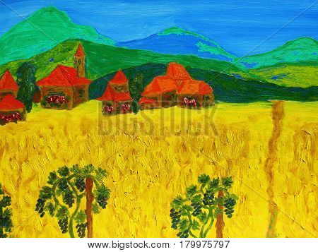 Landscape with green hills houses and yellow fieldl painting illustration.