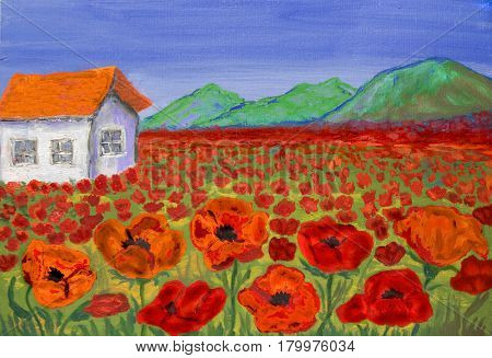 House on meadow with red poppies oil painting.