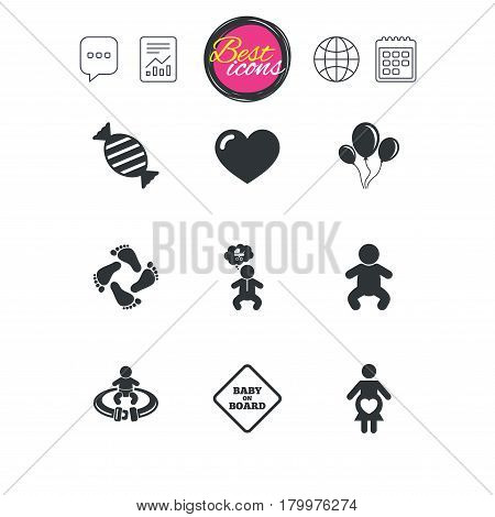 Chat speech bubble, report and calendar signs. Pregnancy, maternity and baby care icons. Candy, strollers and fasten seat belt signs. Footprint, love and balloon symbols. Classic simple flat web icons