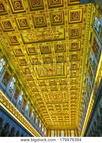 Rome, Italy - September 10, 2015: Ceiling of the Basilica of Saint Paul, one of Rome's four ancient major basilicas or papal basilicas, Rome Italy on September 10, 2015