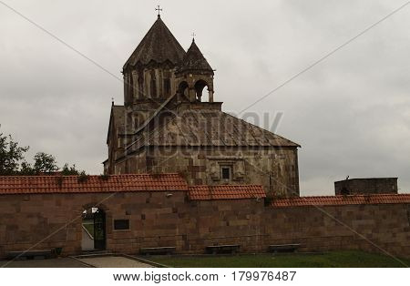 The Temple Of Gandzasar Armenia, Artsakh. The Church Of Gandzasar. On the dark background looks symbolic. Embodying the struggle of Armenian people for their religion.