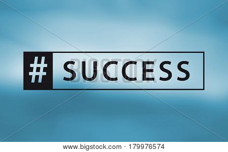 hashtag success sign in blue color inspirational