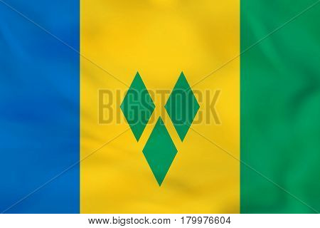 Saint Vincent And The Grenadines Waving Flag. Saint Vincent And The Grenadines National Flag Backgro