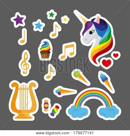 Fashion patch badges with a unicorn, harp, musical notes, sweets and other elements. Set of stickers, pins, patches in flat design style. Vector illustration isolated on grey background.