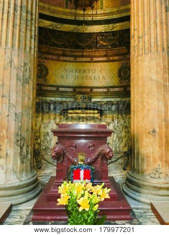 Rome, Italy - September 10, 2015: Inside the Pantheon. Pantheon is a famous monument of ancient Roman culture, temple of all gods at Rome, Italy on September 10, 2015.