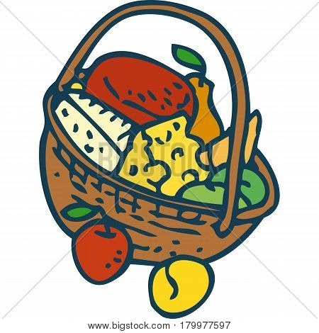 Wicker Basket with Goods. Isolated on a White Background