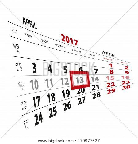 13 April Highlighted On Calendar 2017. Week Starts From Monday.