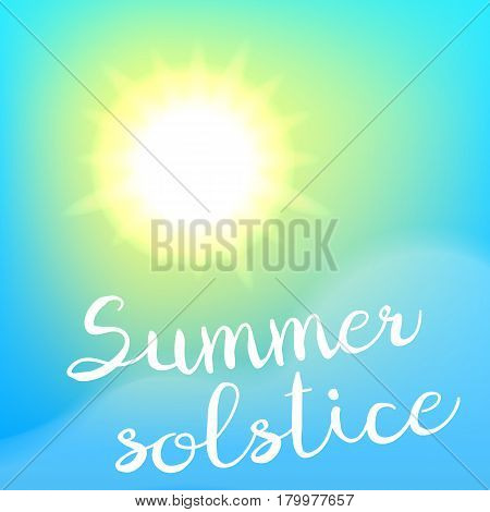 Summer solstice poster. Sun, sky and cloud. Vector eps10