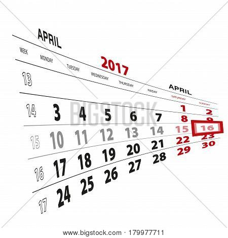 16 April Highlighted On Calendar 2017. Week Starts From Monday.