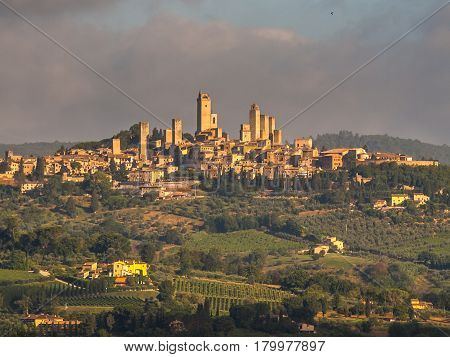 Towers Of San Gimignano In Tuscany Landscape, Italy