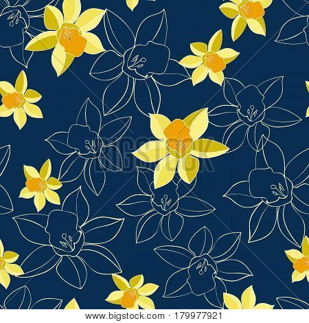 Seamless Vector floral pattern with daffodil flowers and their contour. Daffodil narcissus flowers. Fashion style for prints, silk textile, cushion pillow, kerchief. Texture for clothes, bedclothes