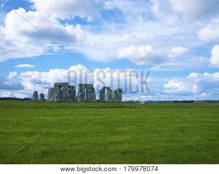 Landscape shot of Stonehenge a large stone English Heritage site