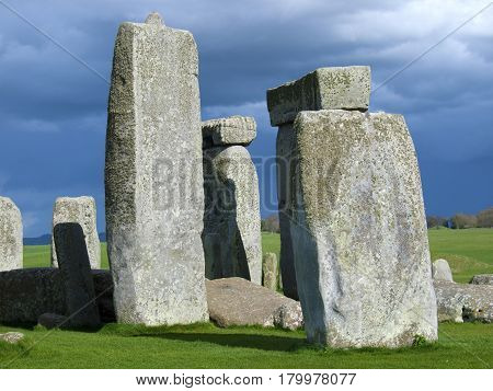 Close shot of Bluestones at Stonehenge an English Heritage tourist site