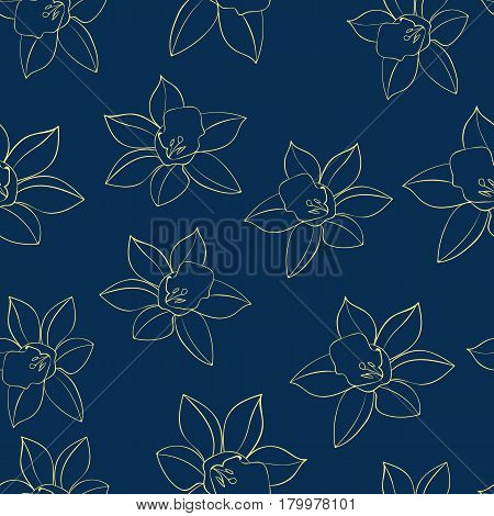 Seamless Vector floral pattern with daffodil flowers contour . Daffodil narcissus flowers. Fashion style for prints, silk textile, cushion pillow, kerchief. Texture for clothes, bedclothes