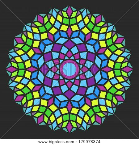 colorful round symmetry pattern, mandala, rosette on dark background