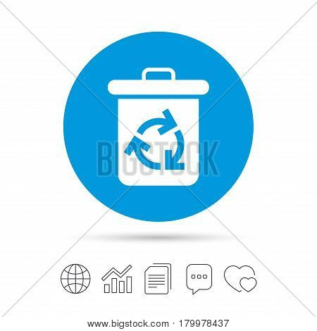 Recycle bin icon. Reuse or reduce symbol. Copy files, chat speech bubble and chart web icons. Vector