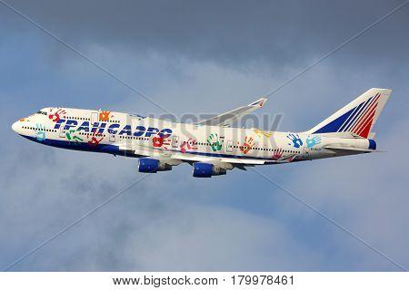 VNUKOVO, MOSCOW REGION, RUSSIA - JULY 23, 2015: Transaero Boeing 747 in Hope Flight livery makes final turn to land at Vnukovo international airport , Moscow region, Russia.