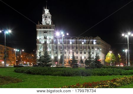 PERM RUSSIA-SEPTEMBER 22 2016: Night illumination and illumination of buildings in the town square Perm. Russia.