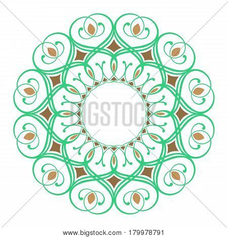 green and orange round symmetry pattern, mandala, rosette